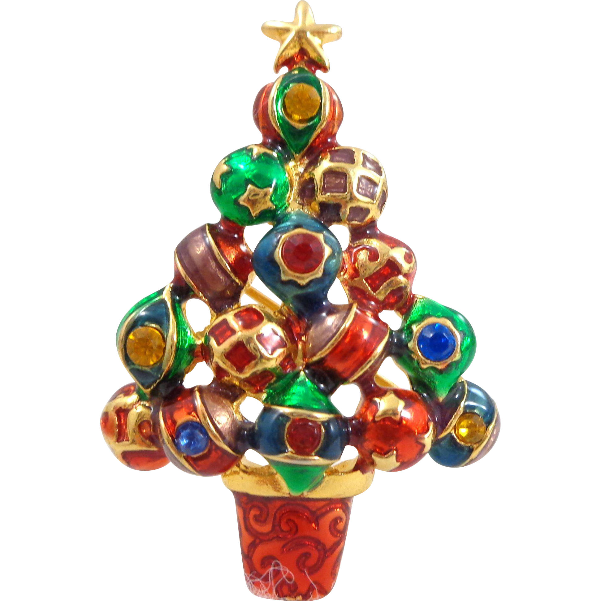 CHRISTOPHER RADKO Enamel & Rhinestones Ornaments Christmas Tree Pin Pendant