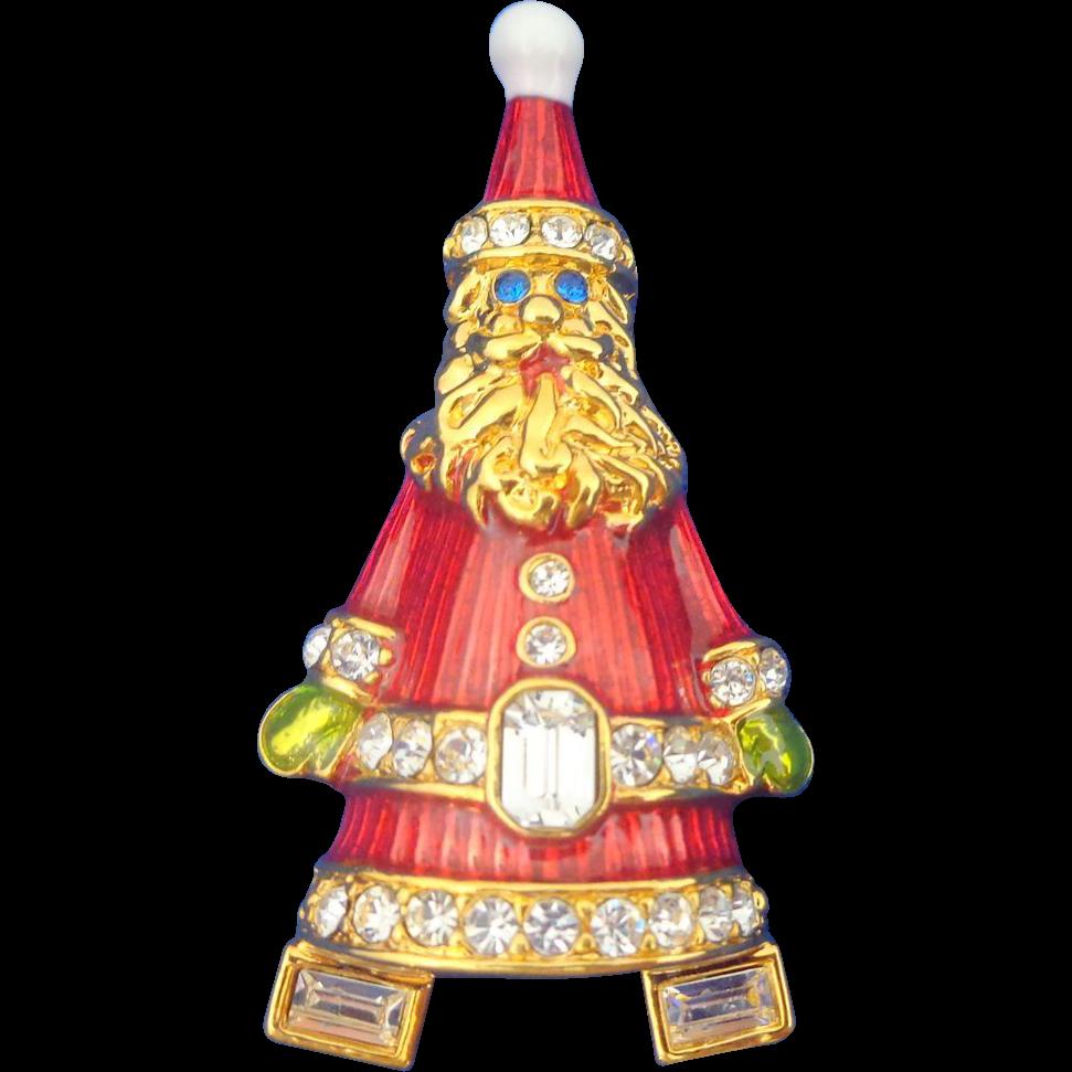 CHRISTOPHER RADKO Santa Christmas Tree Pin Original Box