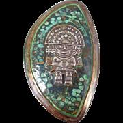 Vintage Sterling Silver Copper Verdigris Inca Warrior Pin Pendant