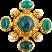 Large Vintage ST JOHN Green Gripoix Art Glass & Faux Pearl Maltese Cross Pin Enhancer