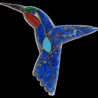 Vintage 980 Silver Inlaid Hummingbird Pin Pendant