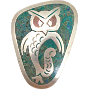 Mid Century TAXCO Mexico Sterling Silver Turquoise Owl Pin