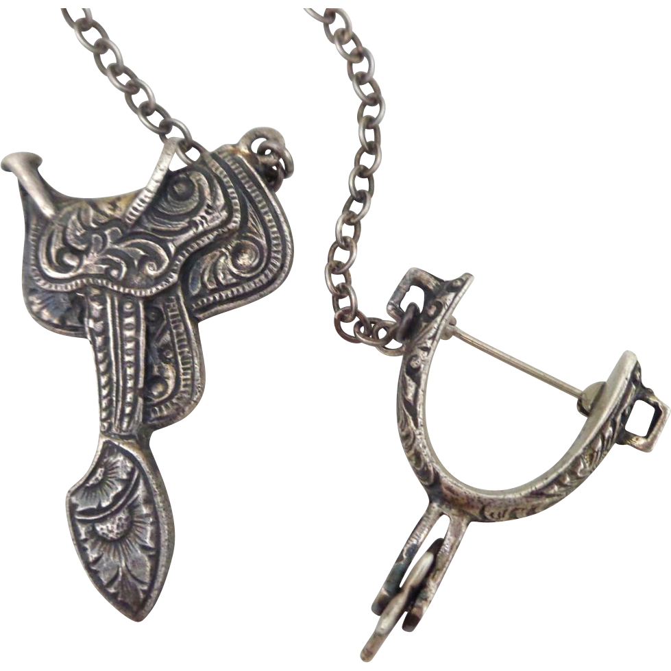 Exquisitely Chased Sterling Silver Western Saddle & Spinning Spur Chatelaine