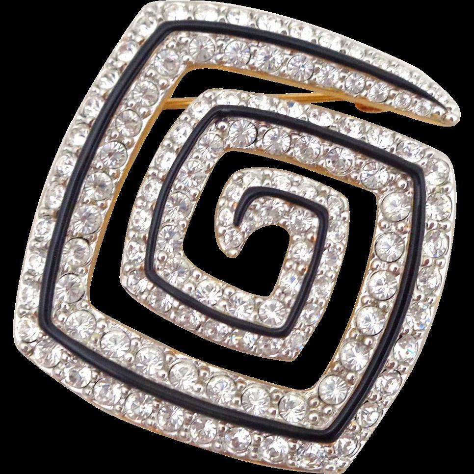 Vintage SWAROVSKI Sparkling Crystals Geometric Swirl Pin