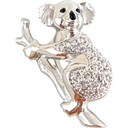 SWAROVSKI Swan Signed Pave Crystal Koala Bear Pin