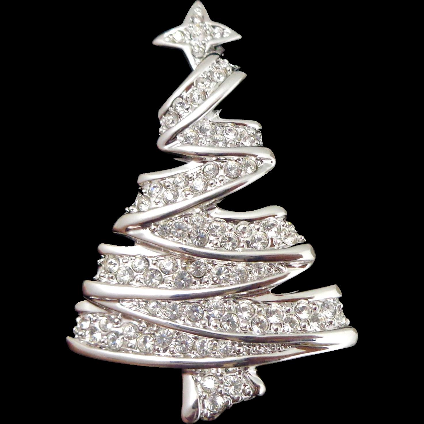 Beautiful Swarovski Swan Logo Crystal Ribbon Christmas