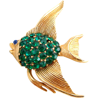 Vintage TRIFARI Green Rhinestone Angel Fish Pin