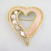 Vintage TRIFARI Rhinestone & Enamel Heart Pin