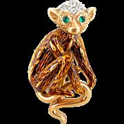 Vintage Crown TRIFARI Monkey Lemur Brown Enamel Figural Pin