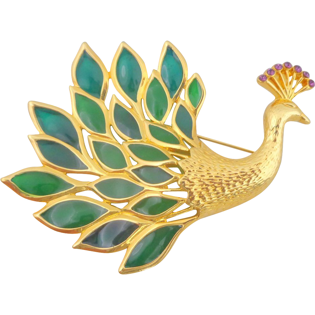 Vintage TRIFARI Plique a Jour Stained Glass Peacock Pin