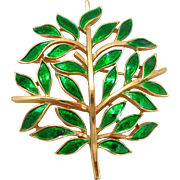 Vintage TRIFARI Enamel Tree of Life Pin