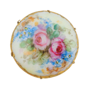 Early 1900's Ornate Hand Painted Roses on Porcelain Pin