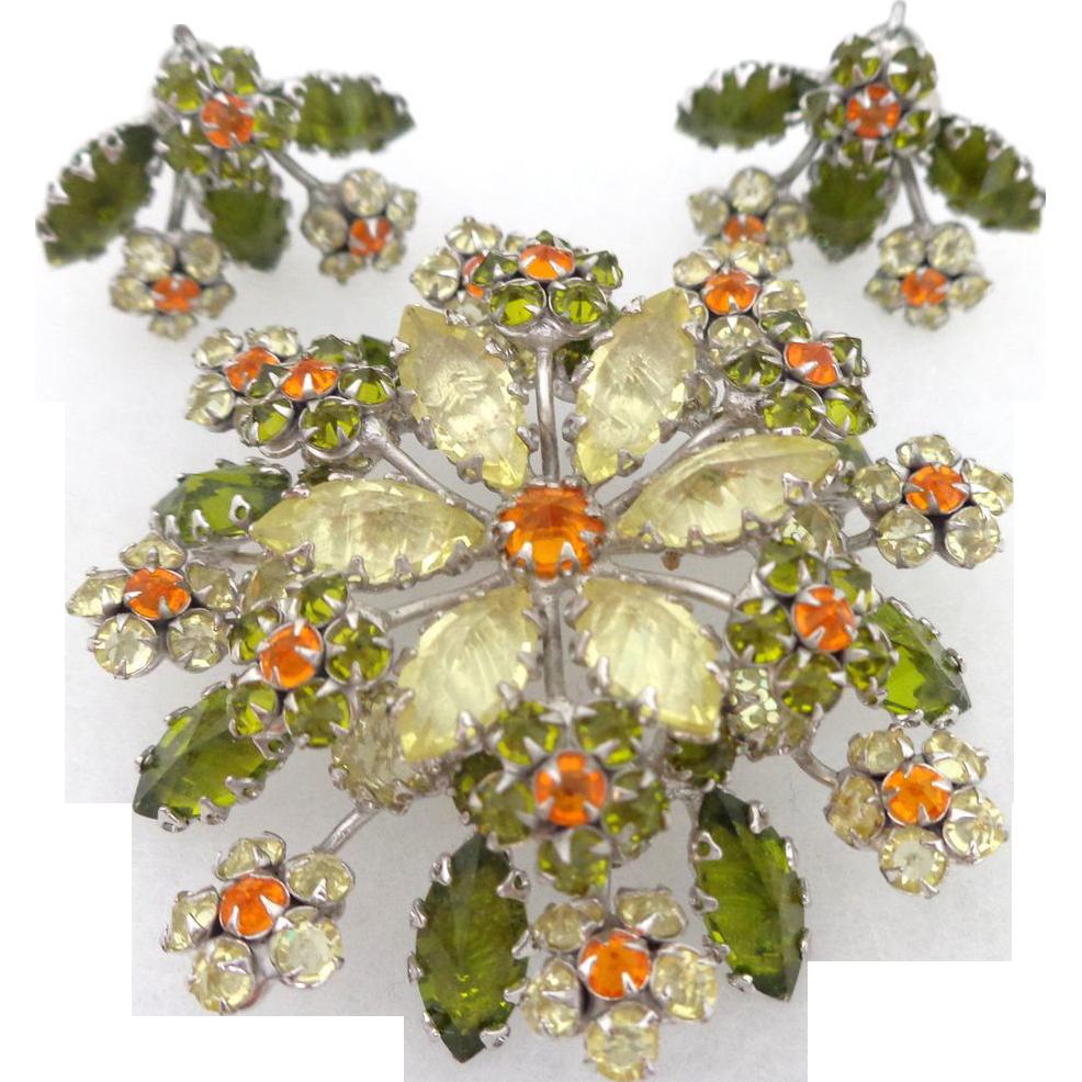 Vintage Large SCHREINER Inverted Unfoiled Rhinestone Floral Brooch & Earrings