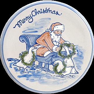 "LOUISVILLE STONEWARE ""Gaggle of Geese"" Santa Christmas 10"" Plate"