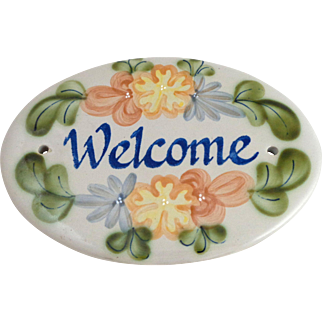 LOUISVILLE STONEWARE Country Flowers Welcome Sign Plaque KY Pottery