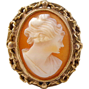 Vintage 10K Gold Filigree Mount Carved Shell Cameo Ring Sz 6.5