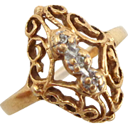 Estate 10K Yellow Gold Diamond Fancy Filigree Ring Sz 6 1/2