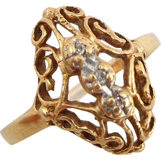 Estate 10K Yellow Gold Diamond Fancy Filigree Ring Sz 6 1/2