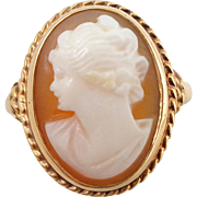 Vintage 14K Gold Carved Cameo Ring Sz 5.75