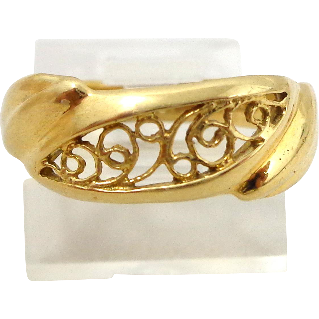 Estate 18k Gold Filigree Scrolls Ring Sz 5