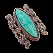 "Vintage Large Ornate ""Peking Glass"" Bohemian Czech Ring"