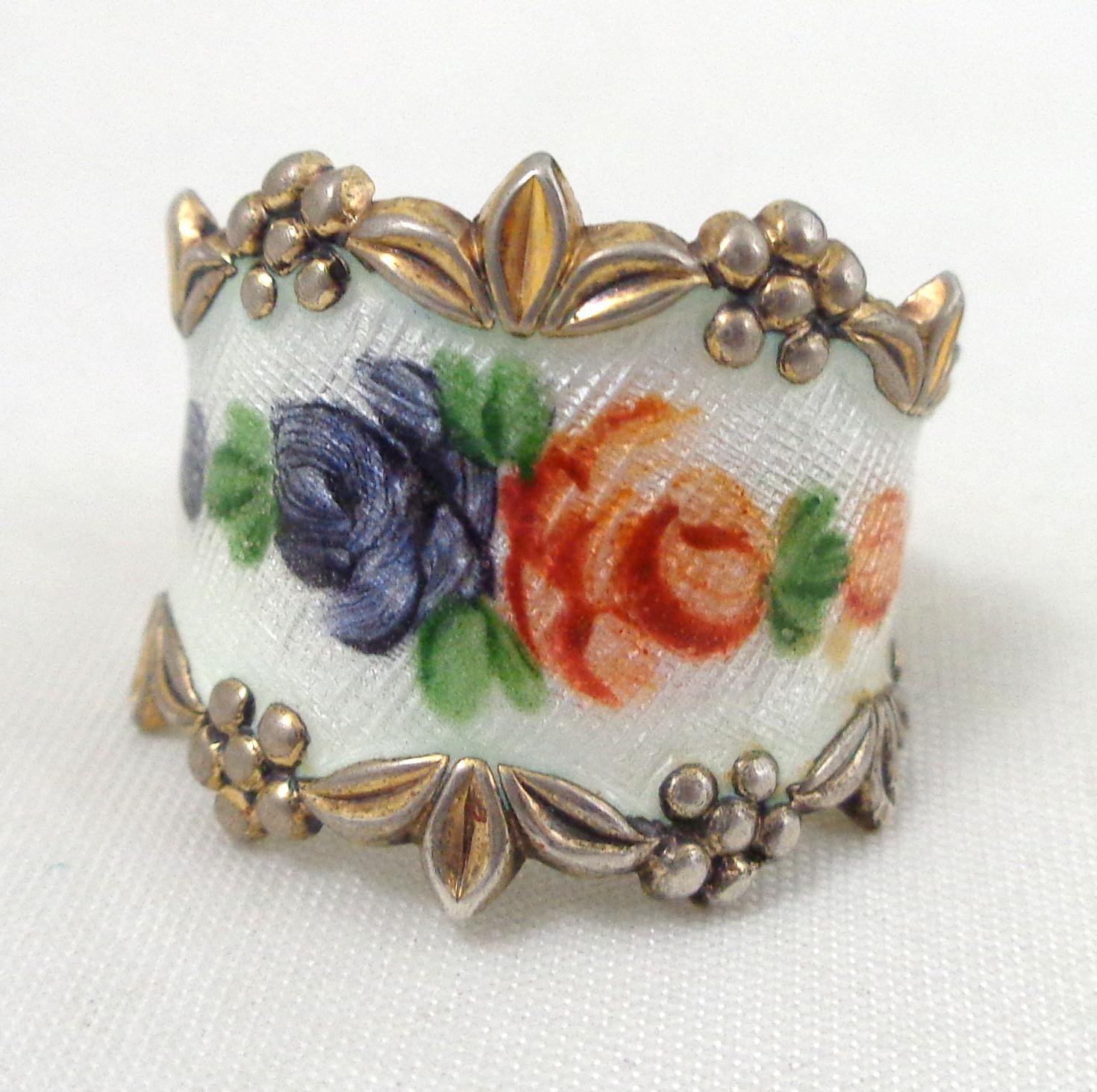 Vintage Vargas Sterling Silver Enamel Flowers Ring From