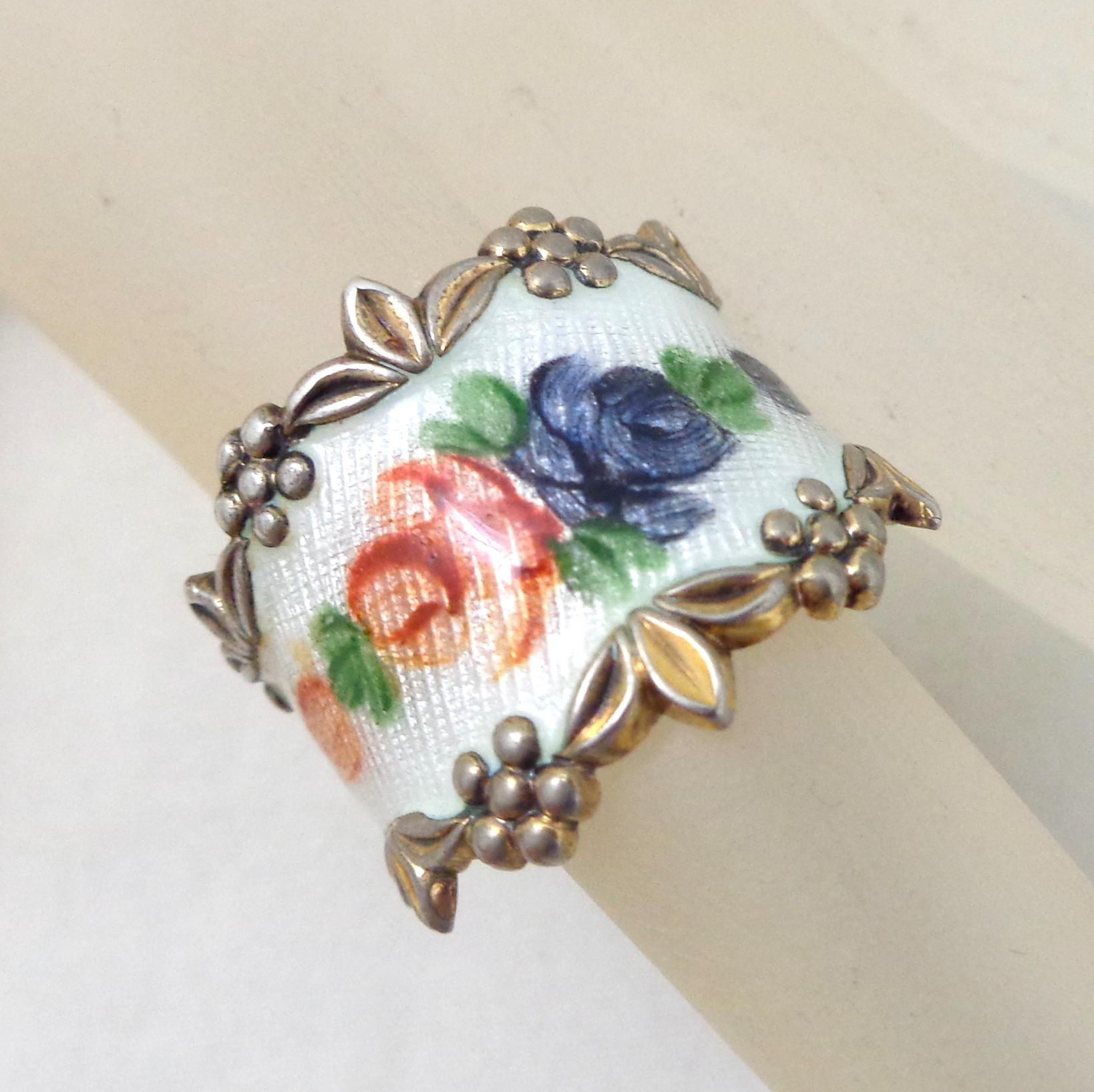 Vintage Vargas Sterling Silver Enamel Flowers Ring From Riverroadcollectibles On Ruby Lane