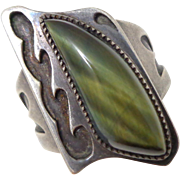 Vintage Lustrous NATIVE AMERICAN Sterling Silver Hawk's Eye Ring Unisex