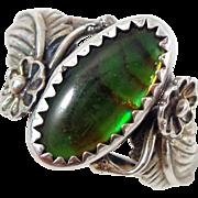 Vintage KABANA Sterling Silver Paua Shell Southwestern Ring Size 7