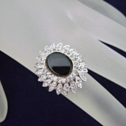 Stunning Vintage PANETTA Diamante Cocktail Ring Sterling Shank Sz 5