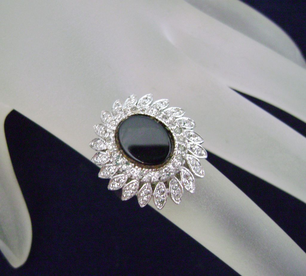 Stunning Vintage PANETTA Diamante Cocktail Ring Sterling Shank Sz 5