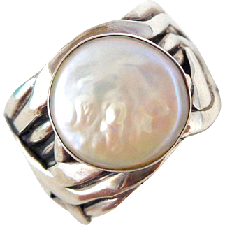 """Retired SILPADA Sterling Silver """"Mermaid"""" Coin Pearl Ring Sz 8"""