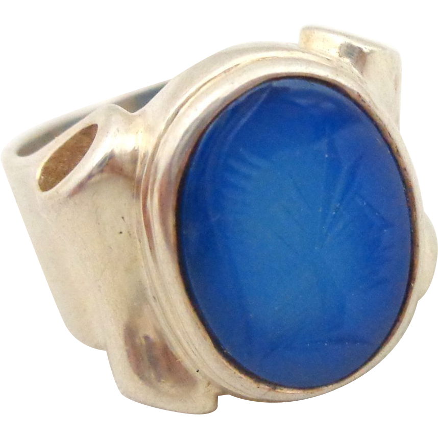 Estate Unique Sterling Silver Blue Chalcedony Carved Intaglio Soldier Ring Sz 6.5