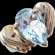 Estate Sterling Silver Blue Topaz Gemstone Modernist Layered Ring Sz 6.5