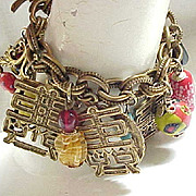 Asian Inspired Unsigned Napier Charm Bracelet - Loaded