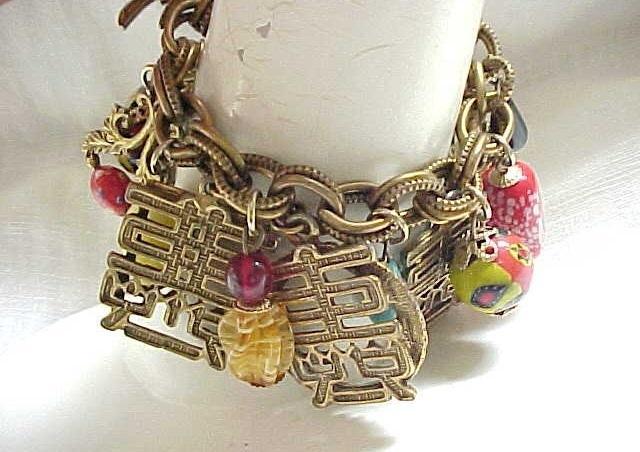 Asian Inspired Unsigned Napier Charm Bracelet - Loaded