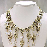 Unsigned Goldette Bib Necklace Opalescent Crystals