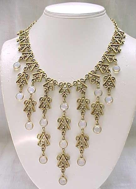 Unsigned Goldette Bib Necklace Opalescent Crystals
