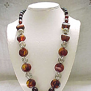Root Beer Bakelite Necklace with Dangle