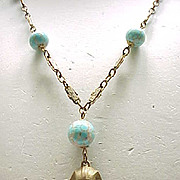 03 - Egyptian Revival King Tut Necklace with Czech Beads