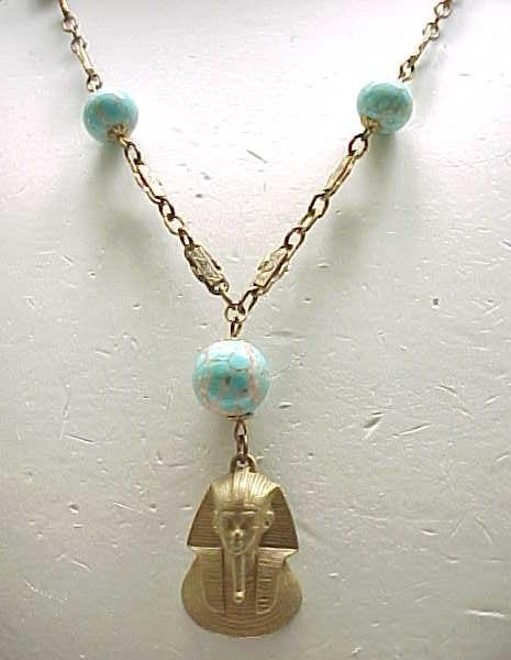 Egyptian Revival King Tut Necklace with Czech Beads