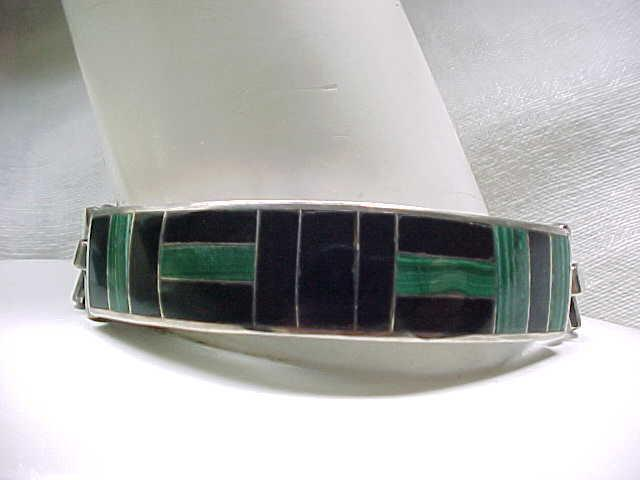 Men's Massive Sterling Bracelet, Ring Onyx, Malachite Inlay