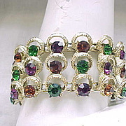 Glamorous Rhinestone Bracelet - Green, Purple, Topaz Rhinestones