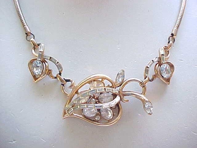 Fabulous Retro Parure - Necklace, Bracelet, Earrings - Rhinestones & Goldtone