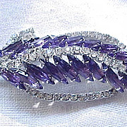 Elegant Purple Rhinestone Brooch, Drop Earrings - Long Skinny Navettes