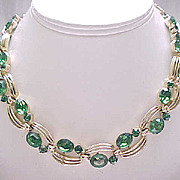 Lisner Emerald Green Rhinestone Necklace, Earrings, Brooch