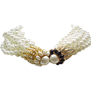 KJL Stunning Torsade Necklace - 8 Strands Faux Pearls, Fabulous Clasp