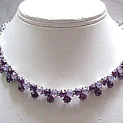 Trifari Rhinestone Necklace, Bracelet - 2 Shades of Purple - Gorgeous