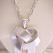 Trifari Silvertone Necklace - Large Modernist Design