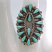Gorgeous Zuni Petit Point Ring Sterling and Turquoise, Size 6 1/2 - Native American